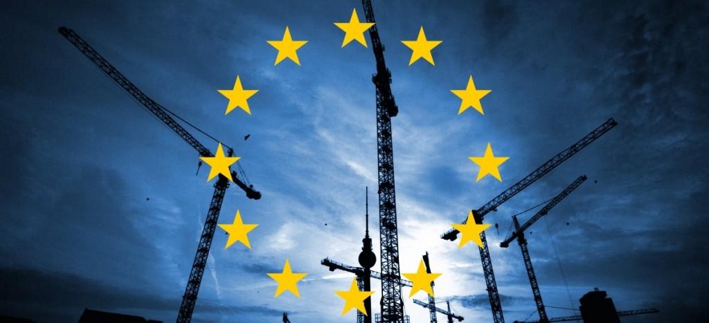 Grues et drapeau européen