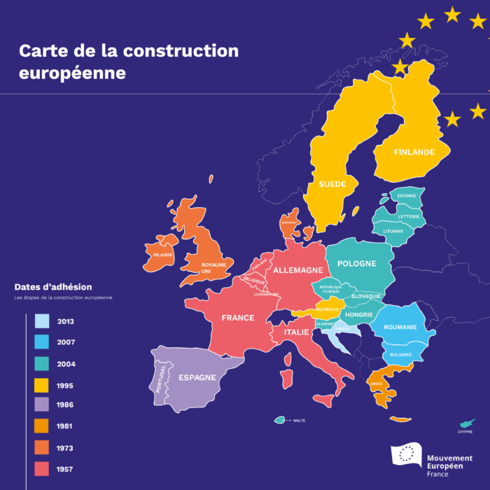Carte De Lunion Europe.Union Europeenne La Construction Europeenne En Carte