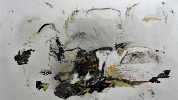 Durchwirbelter Rudem, Bleistift, Buntstift, grüner Schiefer, Asche // Rudem tourbillonnant, crayon, crayon de couleur, argile verte, cendres, 42 x 56 cm, J. Schilling, 1999. © Photo J. Schilling.