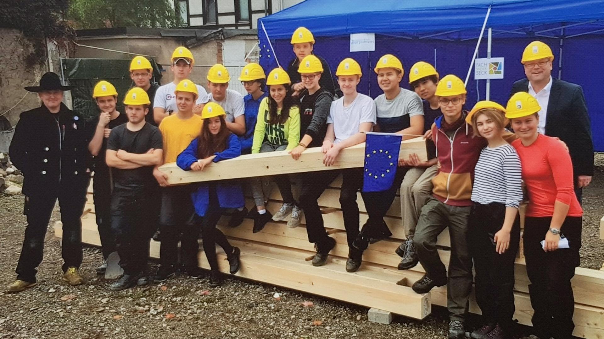 Fin de chantier avec les élèves à Osterode, 2017 (DR).